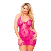 Leg Avenue Floral Lace Chemise Pink UK 16 to 18