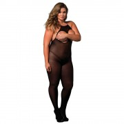 Leg Avenue Opaque Open Cup Crotchless Bodystocking UK 16 to 18