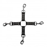 4Way Black Leather Hogtie Cross