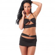 Black Mini Skirt and Crop Top UK Size 812