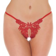 Fancy Red Detailed Open GString